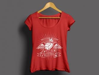 Damenshirt Volleyball rot